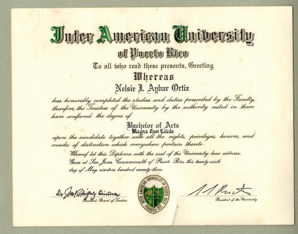 Nelsie 1973 IAU Bachelors Degree