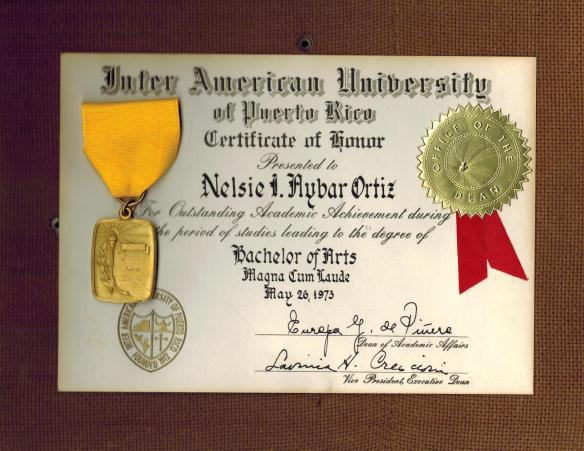 Nelsie 1973 IAU Magna Cum Laude Award 001
