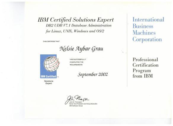 Nelsie 2002 IBM Certified Solutions Expert 001