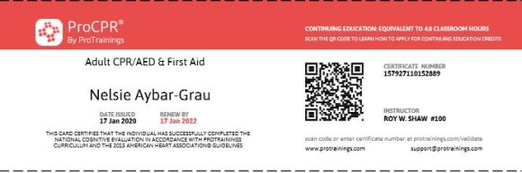 First Aid CPR Card expieres 2022